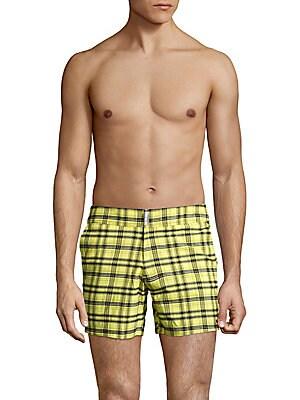 Plaid Banded-Waist Shorts