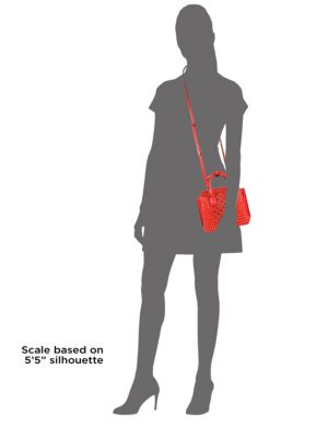 MCM Milla Crystal-Studded Leather Satchel in Red