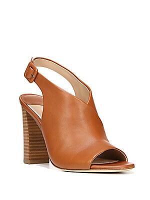 Carini Leather Block Heel Slingback Sandals
