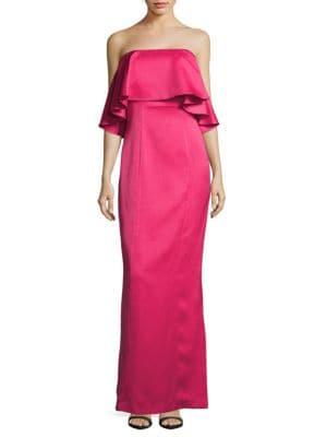Ruffled Straight-Across Column Gown