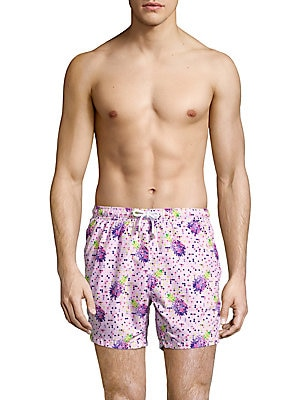 Pineapple-Printed Swim Trunks