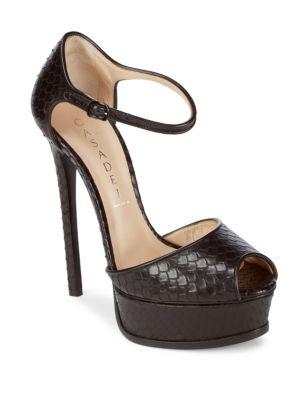 Ankle-Strap Leather Stiletto Pumps Casadei