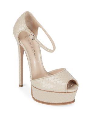 Peep Toe Leather Stiletto Pumps Casadei