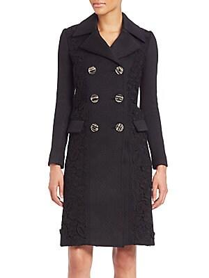 Paneled Cashmere Double-Breasted Coat