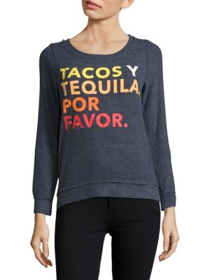 TACOS Y TEQUILA KNIT TOP, AVALON