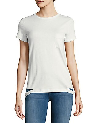 Solid Cotton Slash-Hem Tee