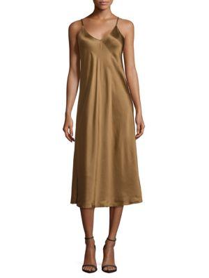 Draped Silk Slip Dress