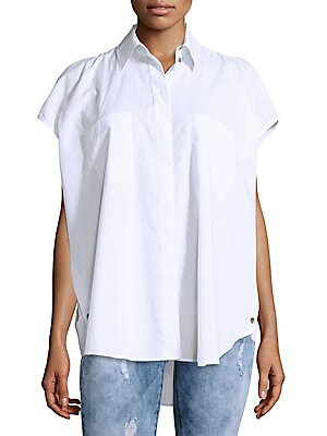 Solid Cotton Loose-Fit Shirt