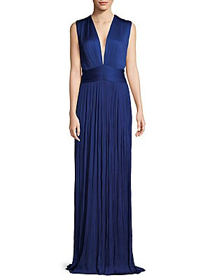 Pleated Floor-Length Silk Dress