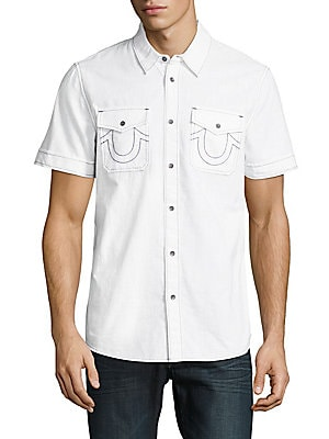 Cotton Short-Sleeve Casual Button-Down Shirt