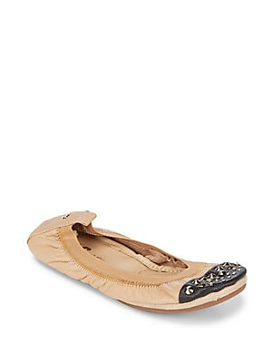 Studded Leather Ballet Flats