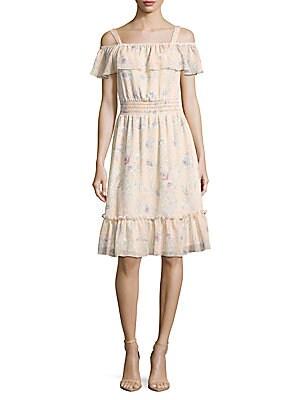 Cold Shoulder Chiffon Ruffle Dress