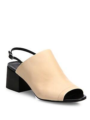 Cube Leather Block-Heel Slingback Mules