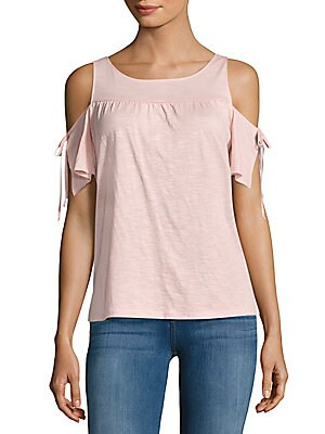 Cotton-Blend Cold-Shoulder Top