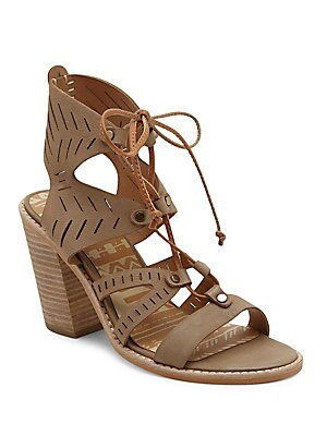 Luci Leather Cutout Ghillie Lace Sandals