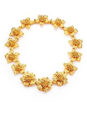 Satin-Finish Flower Necklace