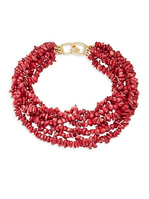 Dark Coral Shell Tiered Necklace