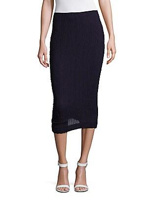 Solid Silk Seersucker Skirt