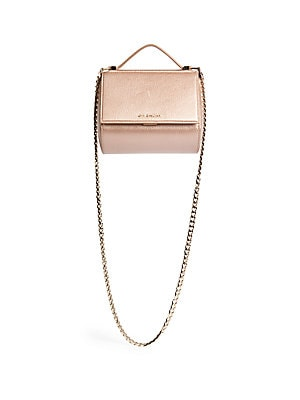 Pandora Box Metallic Leather Chain Crossbody Bag