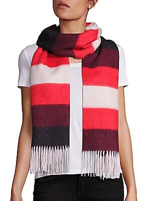Brushed Merino Wool Blanket Stripe Scarf