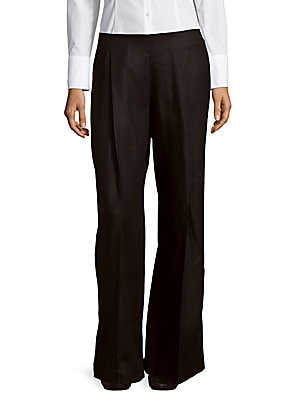 lafayette 148 new york female pleated widelegged linen pants
