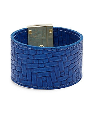 Embossed Leather Wrap Bracelet