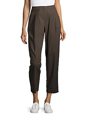 Pleat-Front Cropped Pants