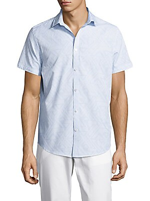 Abstract Textured Casual Button-Down Shirt