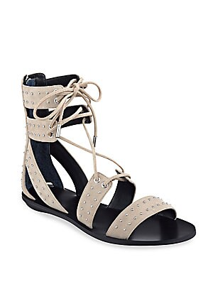 Fabia Studded Suede Lace-Up Sandals