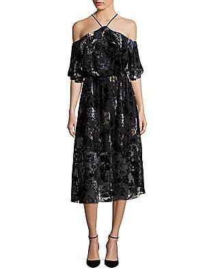 Velvet Burnout Cold-Shoulder Dress