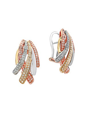 Diamond and 14K White, Yellow, Rose Gold Earrings