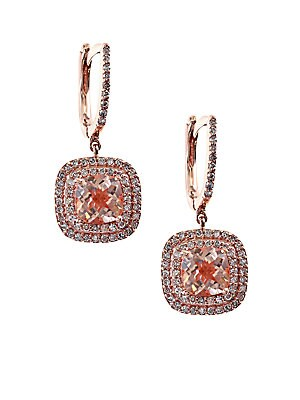 Final Call Diamond and 14K Rose Gold Drop Earrings