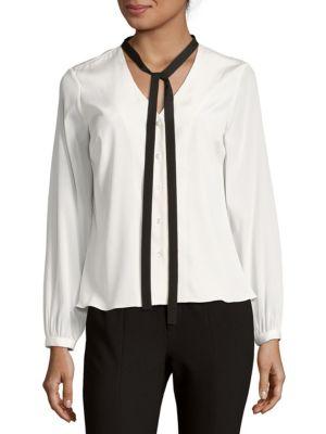 672fd9167ee924 CAROLINA HERRERA Solid Silk-Blend Blouse, White | ModeSens