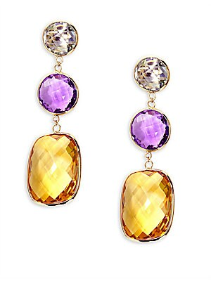14Kt. Rose and White Gold Multi-Stone Drop Earrings
