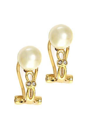 14Kt. Yellow Gold Freshwater Pearl Earrings with Diamonds