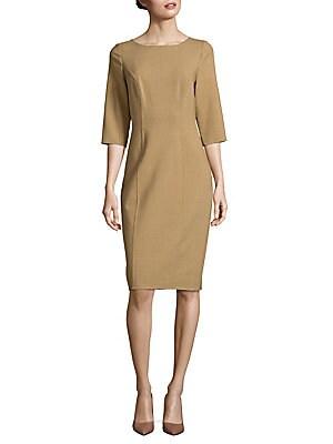 Solid Virgin-Blend Sheath Dress