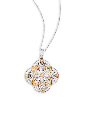 Click here for Diamonds  14K White Gold & 14K Yellow Gold Pendant... prices