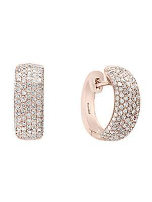 Diamond & 14K Rose Gold Hoop Earrings