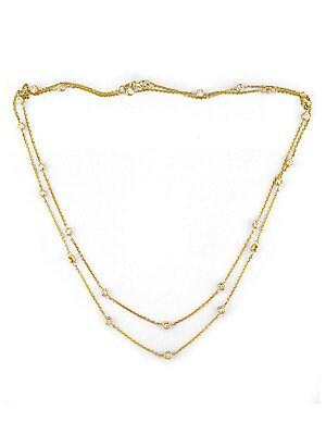 14 Kt. Gold Diamond Station Necklace