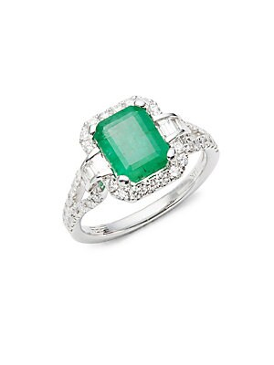 Click here for Diamond  Emerald & 14K White Gold Pave Ring prices