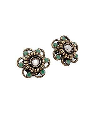Crystal-Studded Stud Earrings