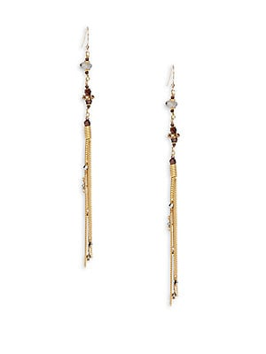 Crystal & Chain Linear Drop Earrings
