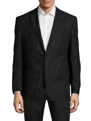 VERSACE VIRGIN WOOL-BLEND NOTCH-LAPEL JACKET, BLACK