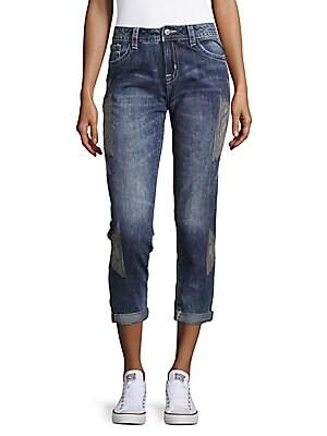 Embroidered Boyfriend Cotton Jeans