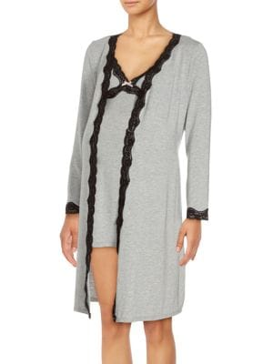 Maternity Lace Robe With Slip Rosie Pope