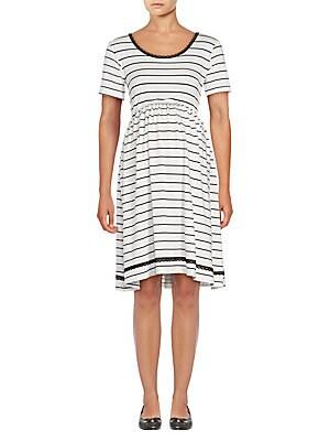 Maternity Short Sleeve Striped Dress