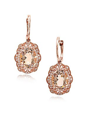 Morganite, Diamond, & 14K Rose Gold Drop Earrings