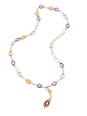 Click here for Amethyst  Smoky Quartz & 14K Yellow Gold Chain Nec... prices