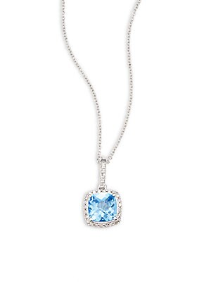 Click here for Diamond  Blue Topaz & 14K White Gold Solid Fill Pe... prices