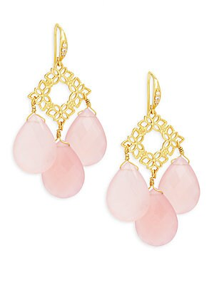 Floral Pink Chalcedony Drops Earrings